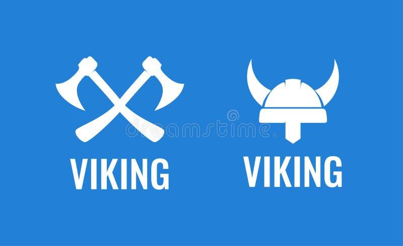 Sistema plano del icono de Viking Ejemplo del vector de guerreros escandinavos medievales Hachas y casco cruzados de Viking libre illustration