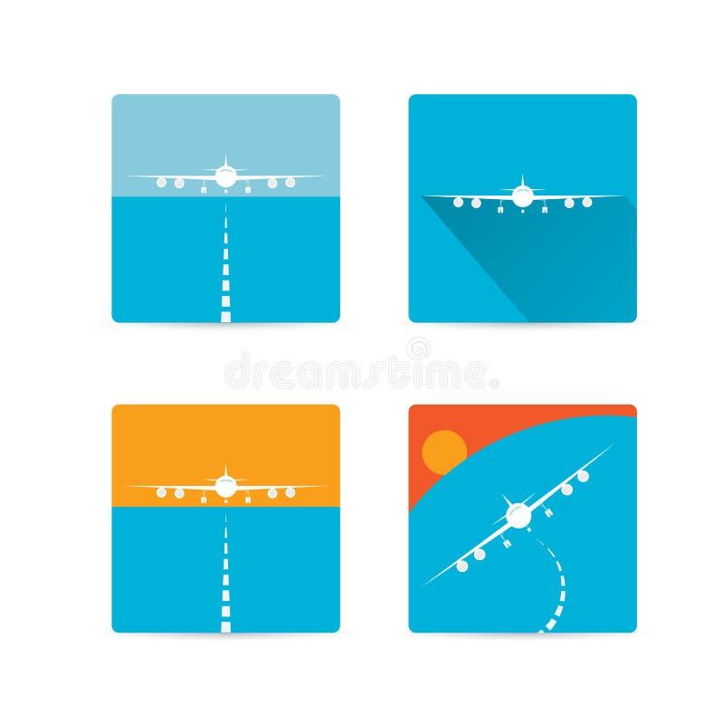 Sistema plano del icono del aeroplano del vector. libre illustration