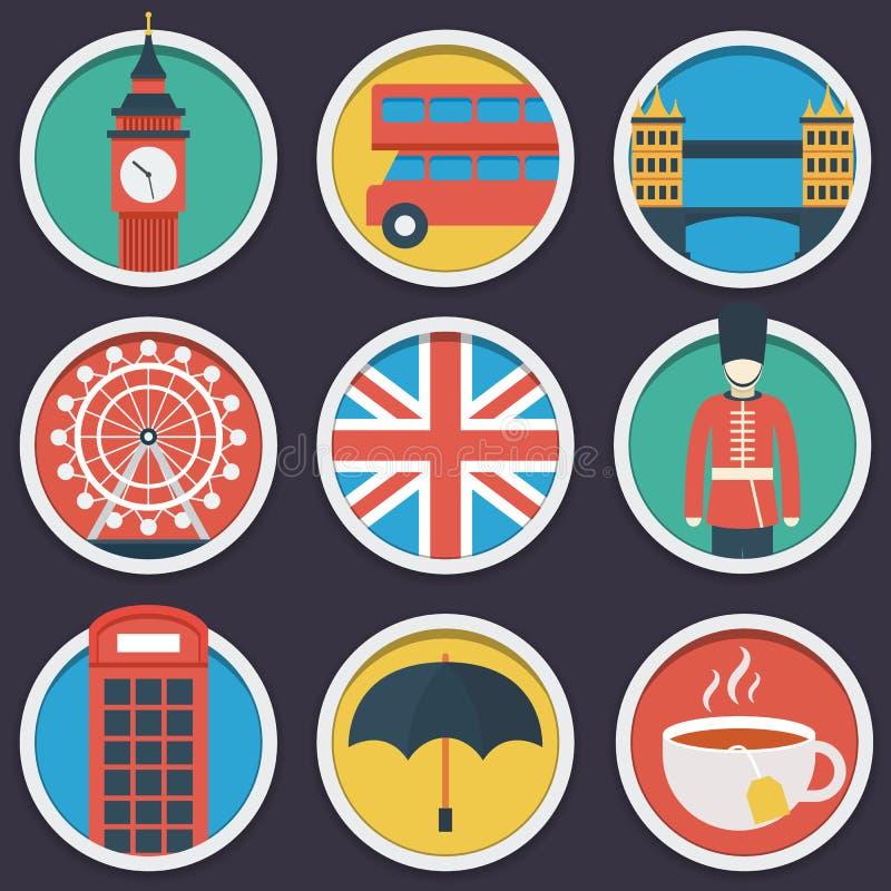 Sistema plano del icono del círculo de Londres ilustración del vector