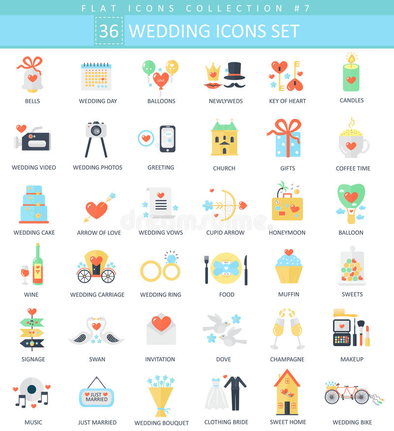 Sistema plano del icono del color de la boda del vector Diseño del estilo elegante stock de ilustración