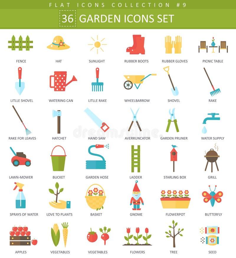Sistema plano del icono del color del jardín del vector Diseño del estilo elegante ilustración del vector