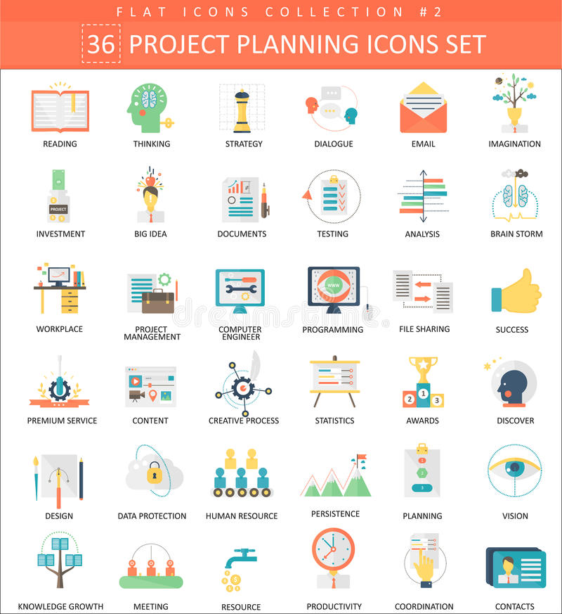 Sistema plano del icono del color del planeamiento de proyecto del vector Diseño del estilo elegante libre illustration