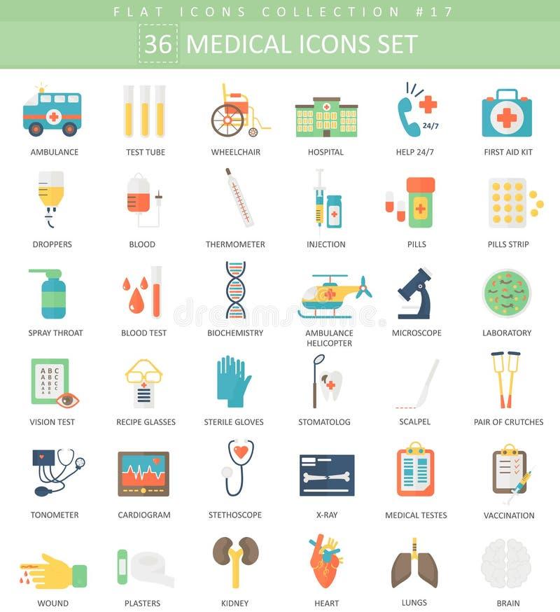 Sistema plano del icono del color médico del vector Diseño del estilo elegante ilustración del vector