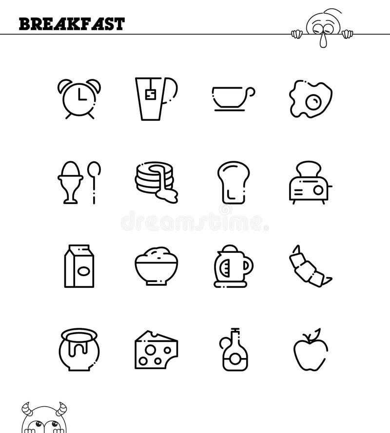 Sistema plano del icono del desayuno libre illustration