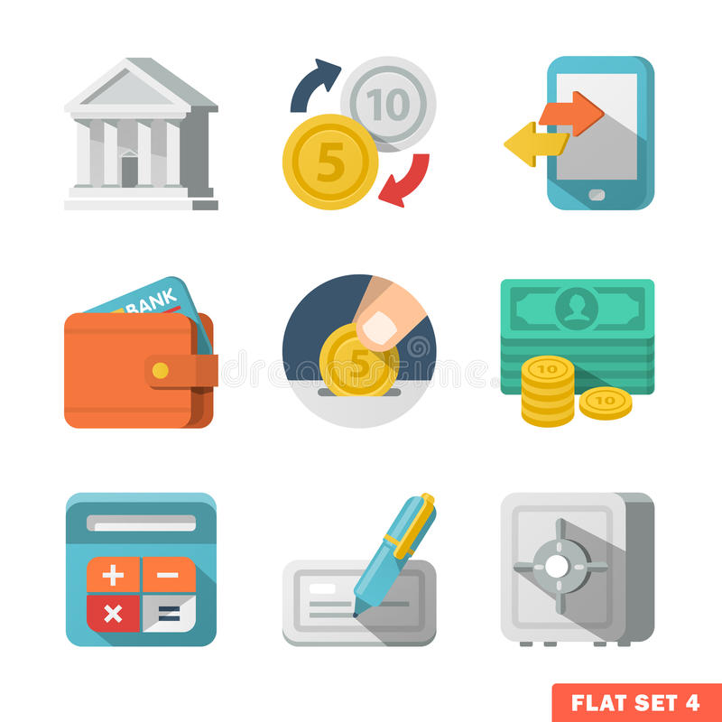 Sistema plano del icono del dinero stock de ilustración
