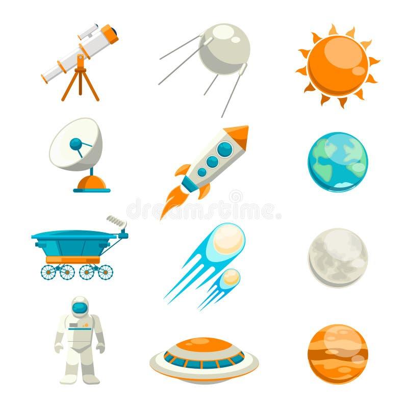 Sistema plano del icono del espacio del vector libre illustration
