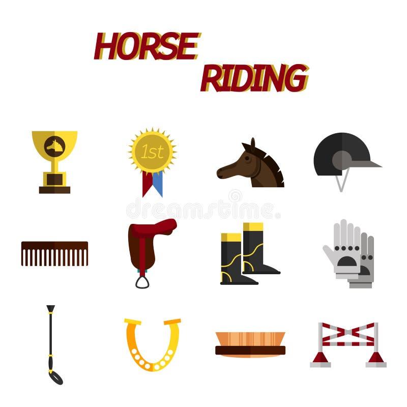 Sistema plano del icono del montar a caballo stock de ilustración