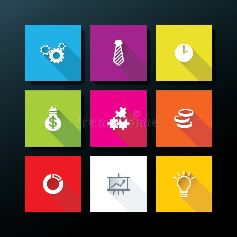 Sistema plano del icono del negocio del vector libre illustration