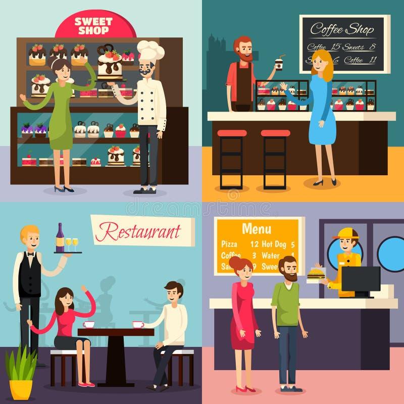 Sistema plano del icono del trabajador del café libre illustration