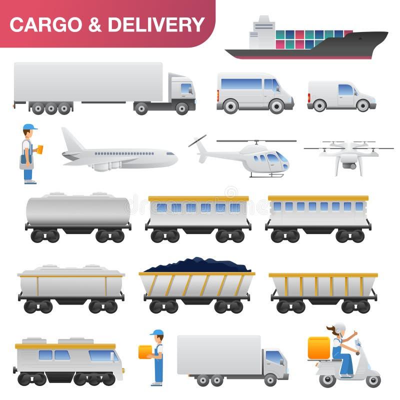 Sistema plano del icono del transporte de la entrega y de logística libre illustration