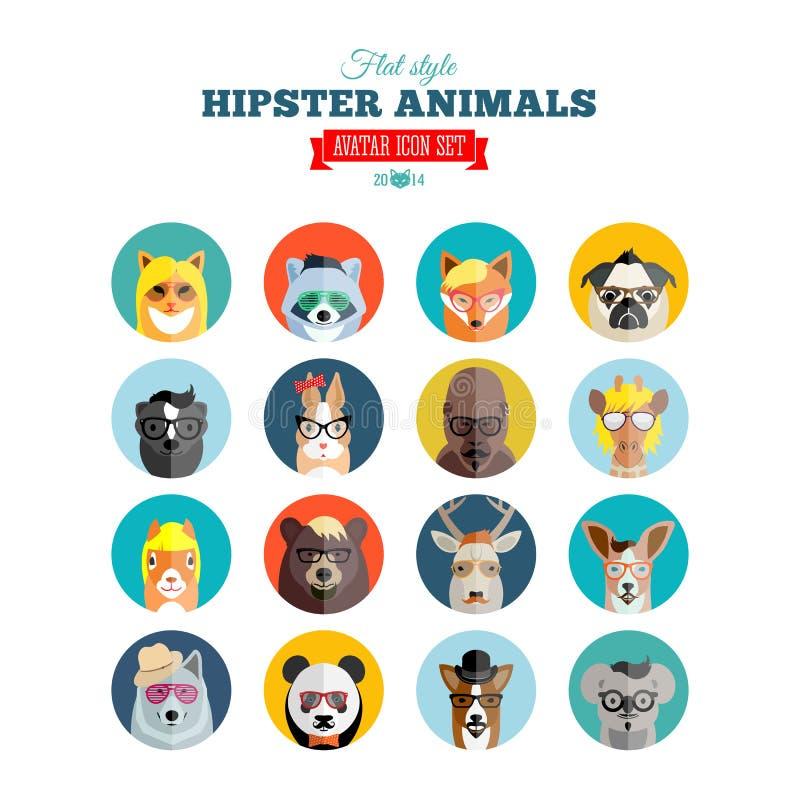 Sistema plano del icono del vector de Avatar de los animales del inconformista del estilo libre illustration