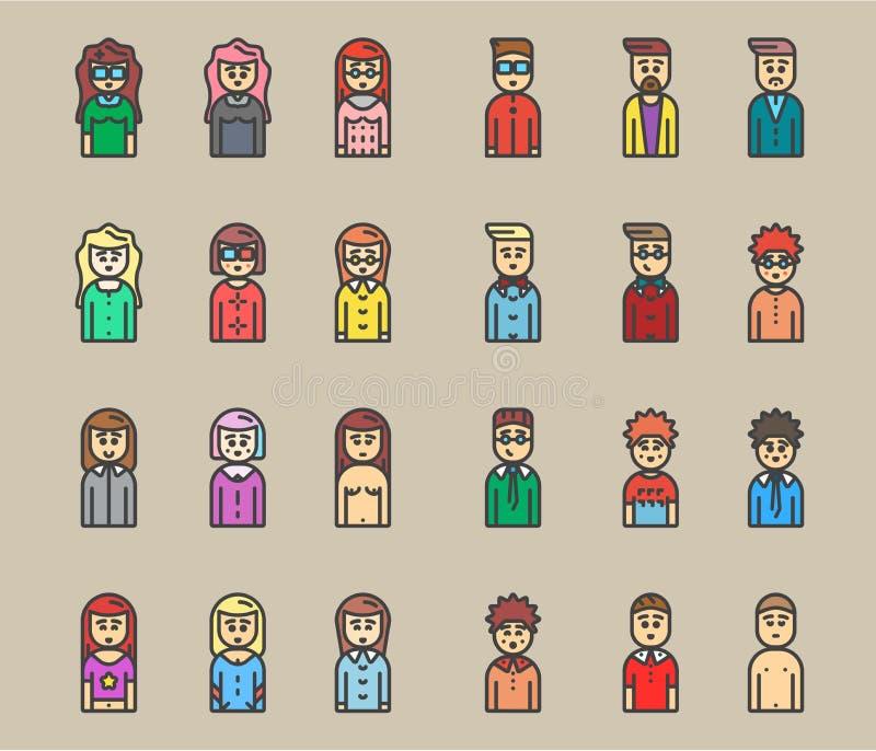 Sistema plano del icono del vector de los avatares de los hombres y de las mujeres foto de archivo