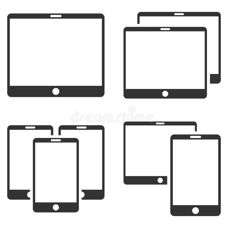 Sistema plano del icono del vector del dispositivo móvil stock de ilustración