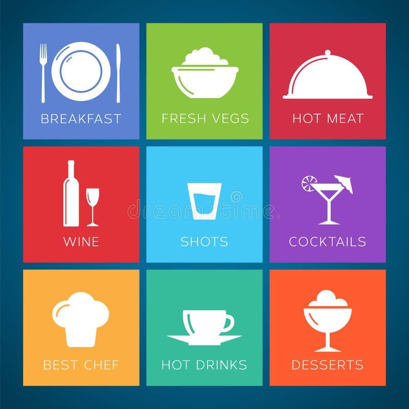 Sistema plano del icono del vector del estilo de la barra y del restaurante. libre illustration