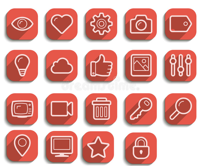 Sistema plano del icono del web del vector libre illustration