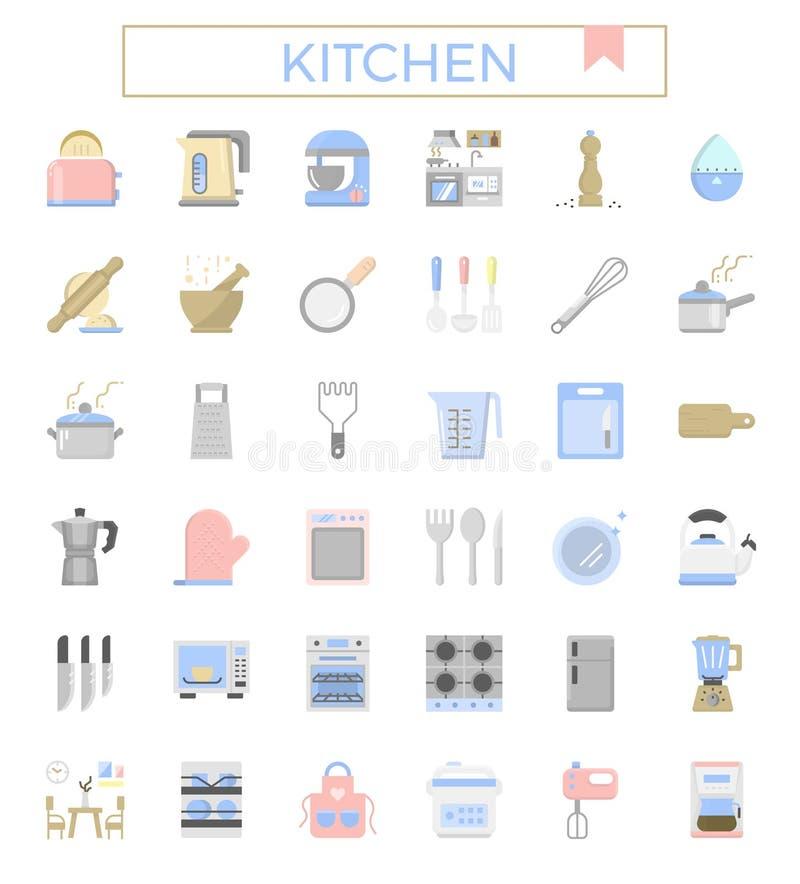 Sistema plano del icono del diseño de la cocina y del equipo libre illustration