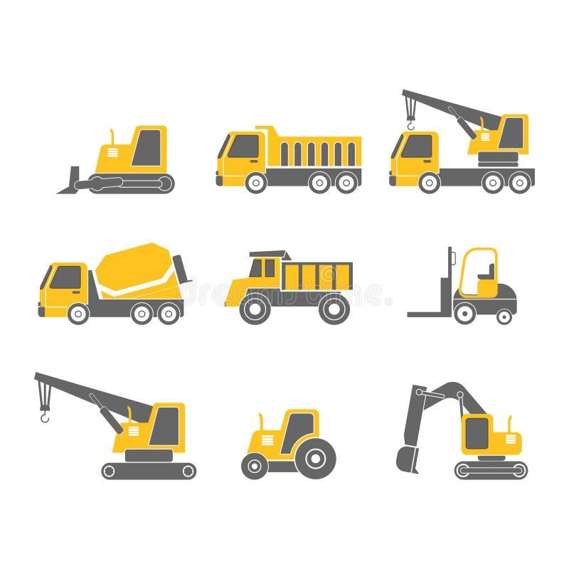 Sistema plano del icono del diseño de los vehículos de la construcción stock de ilustración