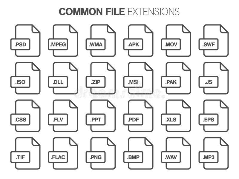 Sistema plano del icono del estilo Sistema, tipo de archivo común, extencion b ilustración del vector