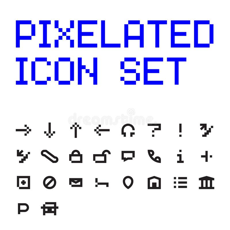 Sistema plano del icono del vector de Pixelated libre illustration