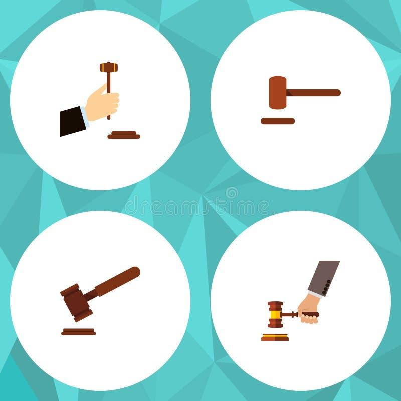 Sistema plano del martillo del icono de justicia, de ley, de crimen y de otros objetos del vector También incluye el crimen, mart ilustración del vector