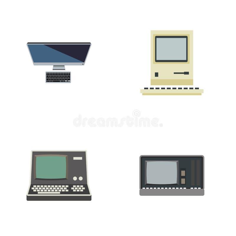 Sistema plano del ordenador del icono de computación, de PC, de tecnología y de otros objetos del vector También incluye retro, o libre illustration