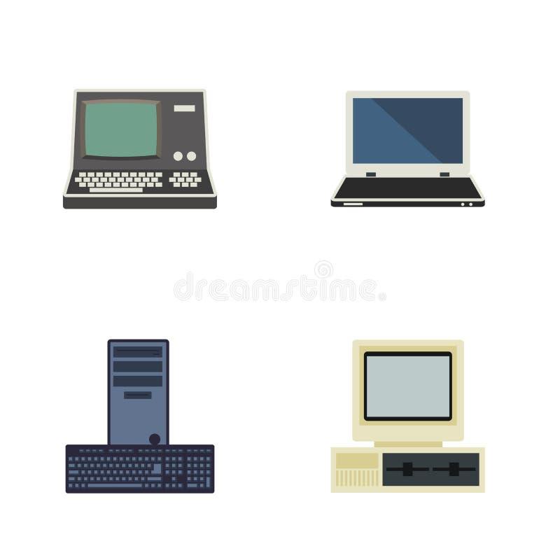 Sistema plano del ordenador del icono de procesador, de cuaderno, de tecnología y de otros objetos del vector También incluye el  stock de ilustración