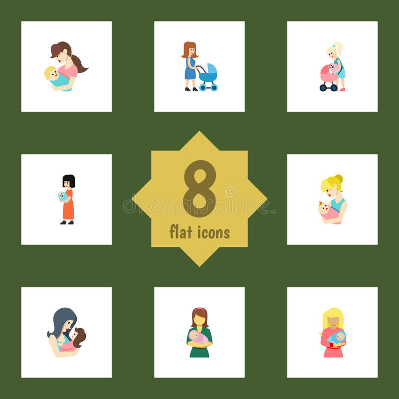 Sistema plano del padre del icono de niño, de madre, de padre y de otros objetos del vector También incluye al niño, Mam, element ilustración del vector