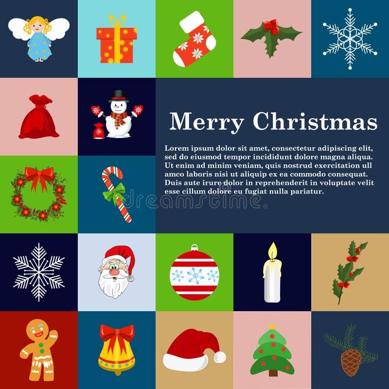 Sistema plano del regalo de la celebración del día de fiesta de la decoración del invierno del estilo de los iconos de la Navidad libre illustration