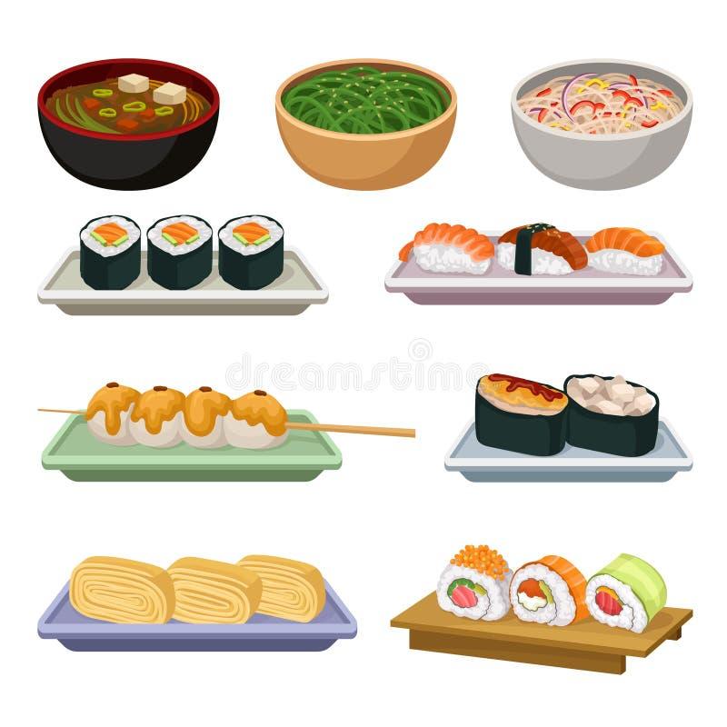Sistema plano del vector de comida japonesa tradicional Sopas, bolas de arroz en el palillo de madera y diferentes tipos de sushi ilustración del vector