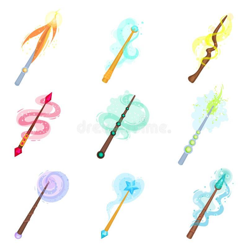 Sistema plano del vector de diversas varas mágicas Palillos con resplandor mágico Iconos coloridos del tema de la brujería stock de ilustración