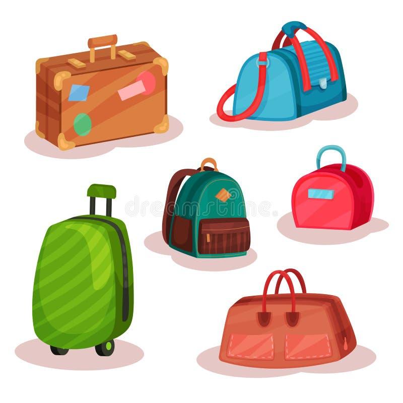 Sistema plano del vector de diversos bolsos Bolsos de las mujeres, caso retro con las etiquetas engomadas, mochila urbana, maleta stock de ilustración