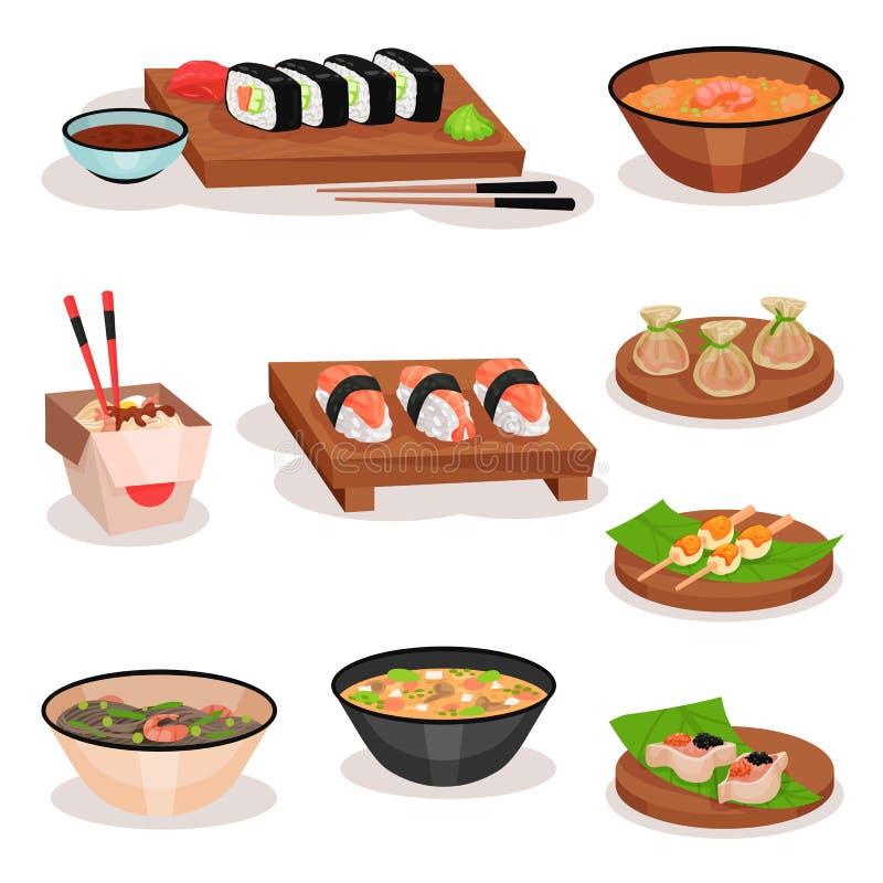 Sistema plano del vector de diversos platos asiáticos Sushi, cuencos con las sopas y los tallarines, bolas de masa hervida del ca stock de ilustración