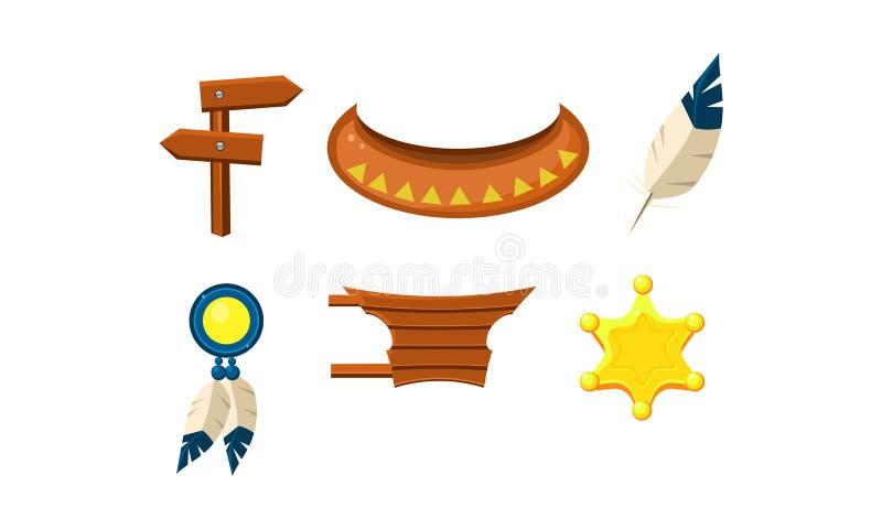 Sistema plano del vector de elementos del oeste salvajes Insignia del sheriff, muestra de madera y tablero, pluma, canoa india stock de ilustración