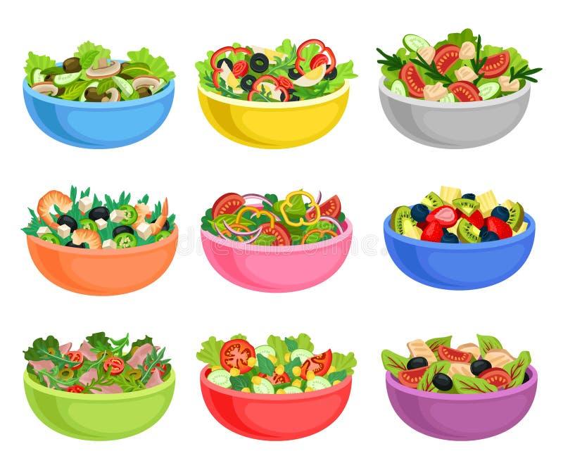 Sistema plano del vector de ensaladas de la verdura y de fruta Platos apetitosos de productos frescos Comida orgánica y sana stock de ilustración