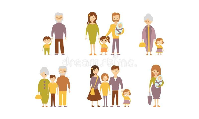 Sistema plano del vector de familias Padres con los niños, las abuelas y los abuelos con los nietos Gente de la historieta stock de ilustración