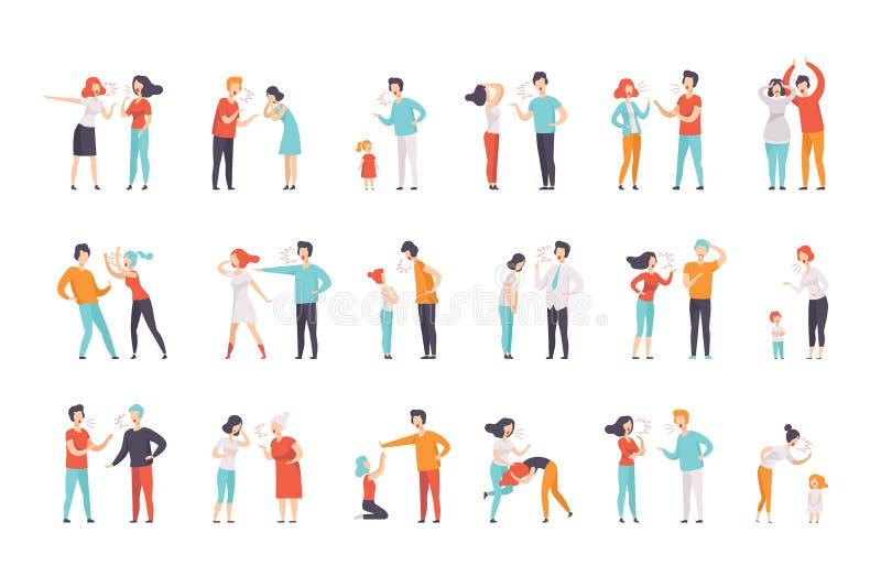 Sistema plano del vector de gente de pelea Mujeres y hombres que gritan en alta voz en uno a Madres que rega?an a ni?os Negativo ilustración del vector