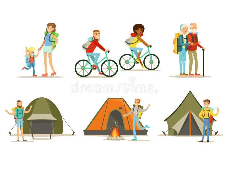 Sistema plano del vector de gente que viaja feliz Actividad al aire libre activa Viaje caminando, el acampar y del ciclo stock de ilustración