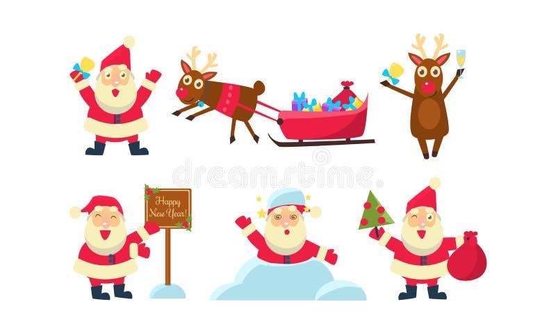 Sistema plano del vector de iconos coloridos de la Navidad Papá Noel y reno divertidos Nieve, trineo con los regalos ilustración del vector