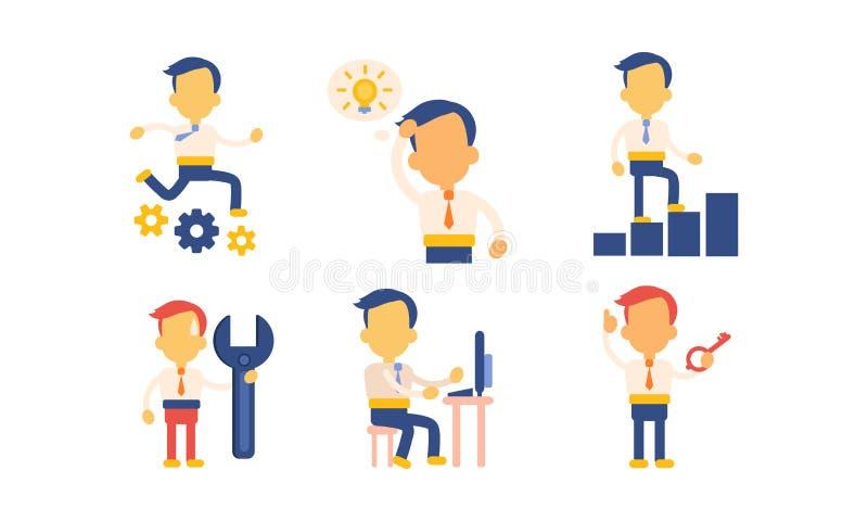 Sistema plano del vector de iconos con el hombre de negocios en acciones de trabajo Oficinista ocupado en el trabajo Hombre en ro ilustración del vector