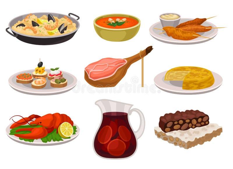Sistema plano del vector de la comida y de la bebida españolas tradicionales La paella, sopa de restauración del gazpacho, asó a  ilustración del vector