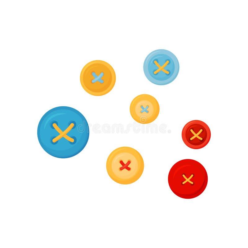 Sistema plano del vector de los botones coloridos para la ropa con cuatro agujeros Accesorios de costura Tema de la modistería stock de ilustración
