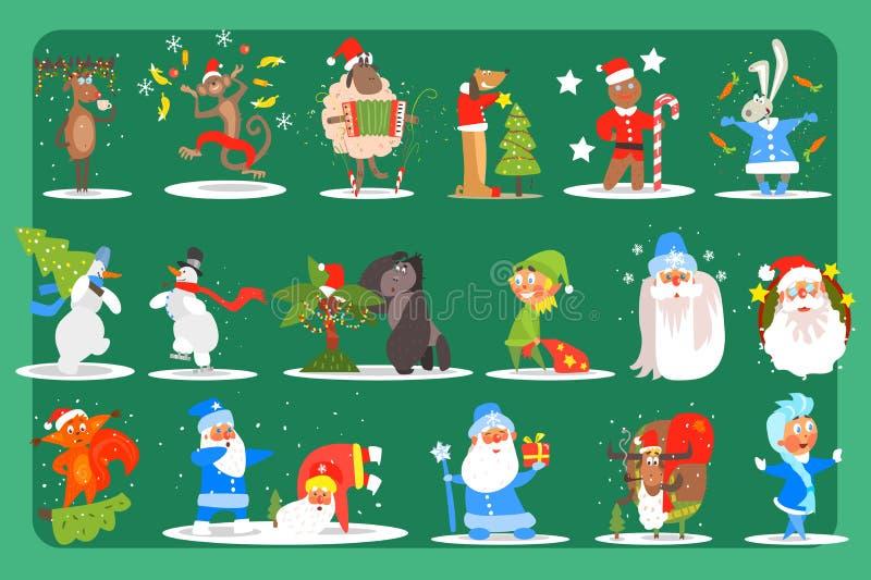 Sistema plano del vector de los caracteres divertidos ciervos, mono, oveja, perro, conejito, muñecos de nieve, gorila, duende, P stock de ilustración