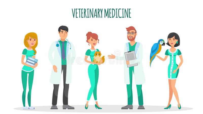 Sistema plano del vector de los caracteres de la veterinaría stock de ilustración