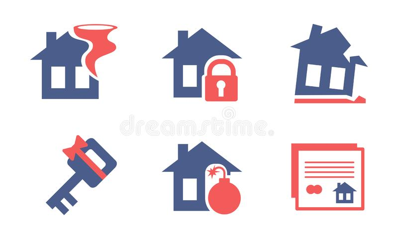 Sistema plano del vector de los iconos caseros del servicio de seguro Tema de la protección de la propiedad Elementos para el fol libre illustration