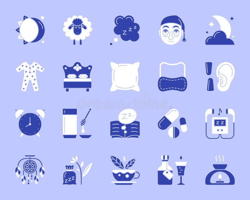 Sistema plano del vector de los iconos del color simple del insomnio stock de ilustración