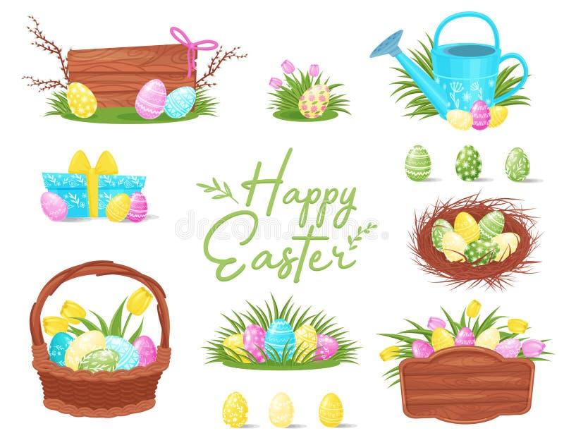 Sistema plano del vector de los iconos coloridos de Pascua Huevos pintados en cesta y jerarquía, tableros de madera, caja de rega ilustración del vector