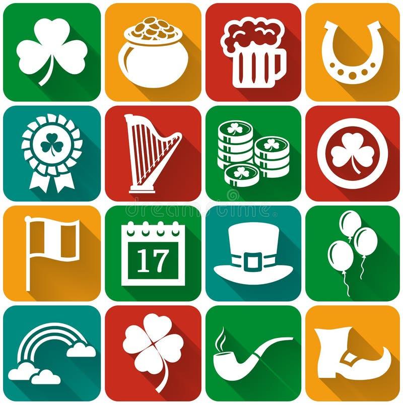 Sistema plano del vector de los iconos del día de St Patrick stock de ilustración