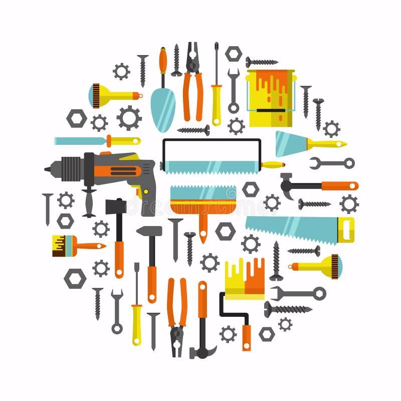 Sistema plano del vector de los instrumentos de las herramientas de la reparación de la casa stock de ilustración