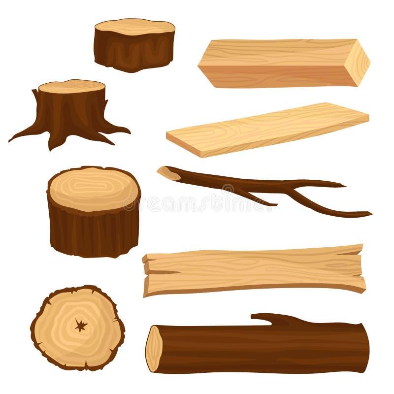 Sistema plano del vector de los materiales para la industria de madera Viejos tocones de árbol y rama, haz largo y tablones, regi stock de ilustración