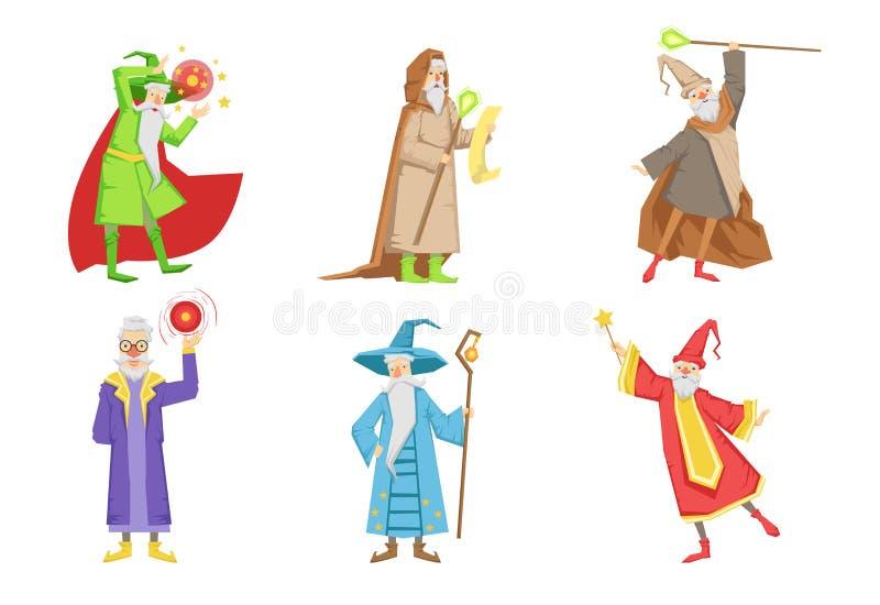 Sistema plano del vector de magos gris-barbudos Personajes de dibujos animados de los viejos hombres s con poderes mágicos Elemen ilustración del vector